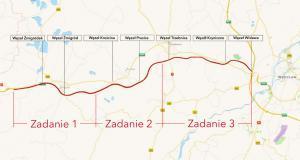 Mapa drogi ekspresowej S5 Wrocław - Korzeńsko w podziale na zadania realizacyjne