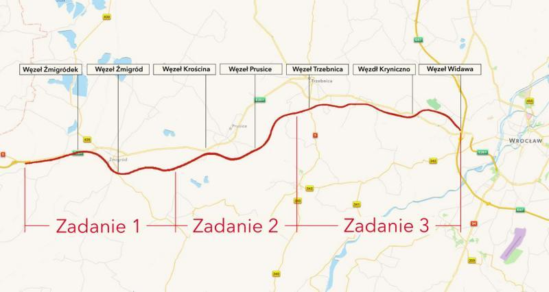 Mapa budowanej drogi ekspresowej S5