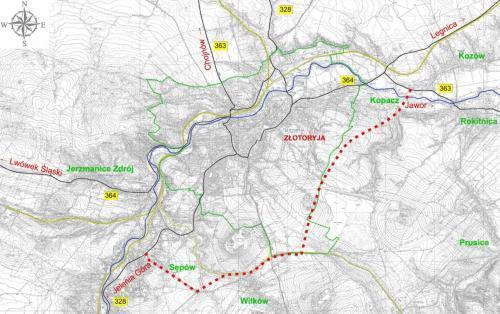 Obwodnica Złotoryi - mapa przebiegu DW364