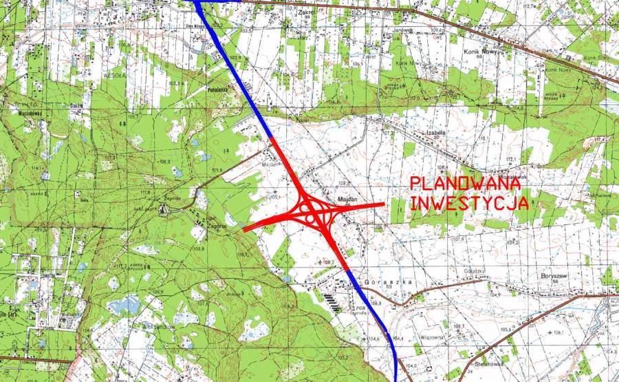 Mapa węzła Lubelska w ciagu drogi ekspresowej S17