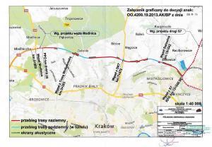Północna obwodnica Krakowa - mapa przebiegu wariantu z decyzją RDOŚ