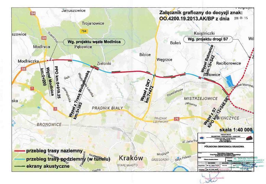 Mapa przebiegu północnej obwodnicy Krakowa