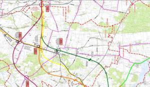 Mapa drogi ekspresowej S74 Sulejów - granica województw: obwodnica Paradyża