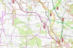 Mapa drogi ekspresowej S74 Sulejów - granica województw: obwodnica Żarnowa