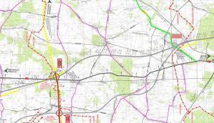 Mapa drogi ekspresowej S74 Sulejów - granica województw. Węzeł Kozienin z S12 w