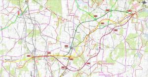 Mapa drogi ekspresowej S74 w woj. łodzkim Sulejów - granica województw