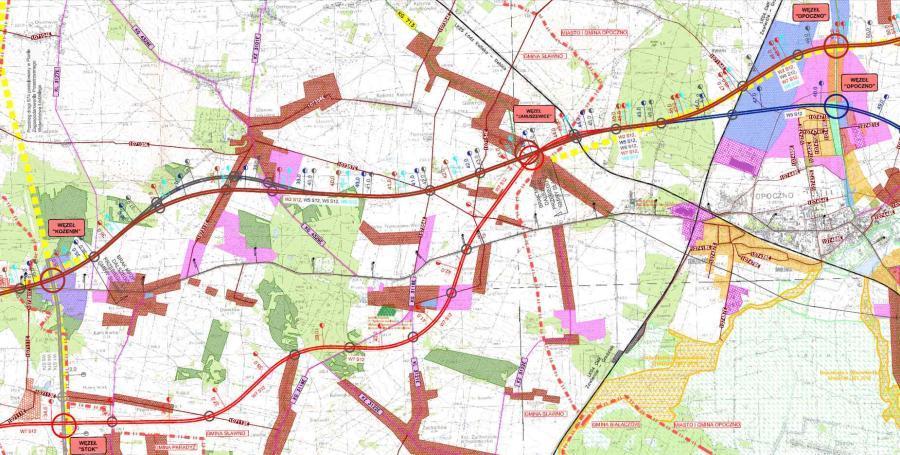 Mapa przebiegu drogi ekspresowej S12 Kozenin - Opoczno