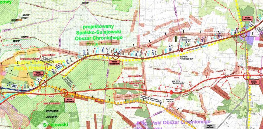 Mapa przebiegu drogi ekspresowej S12 Sulejów - Kozenin