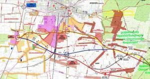 Mapa drogi ekspresowej S12 Piotrków Trybunalski - Opoczno. Obwodnica Piotrkowa Trybunalskiego