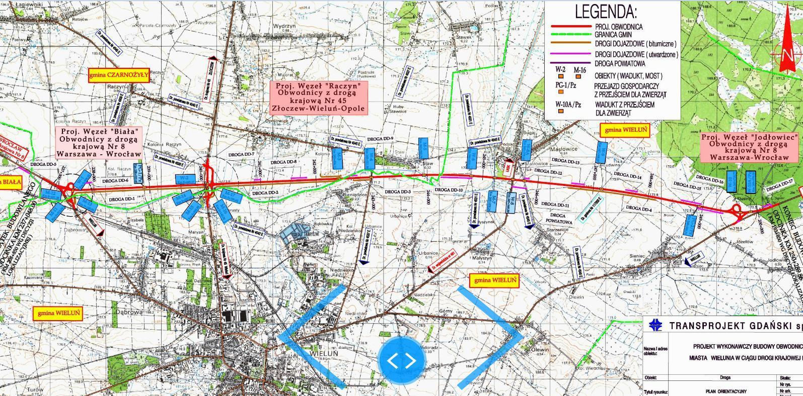 Mapa obwodnicy Wielunia w ciągu DK74 - dawna DK8