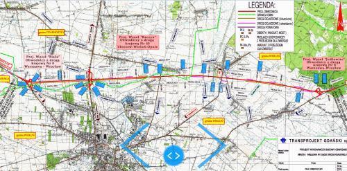 Mapa przebiegu obwodnicy Wielunia w ciągu DK74