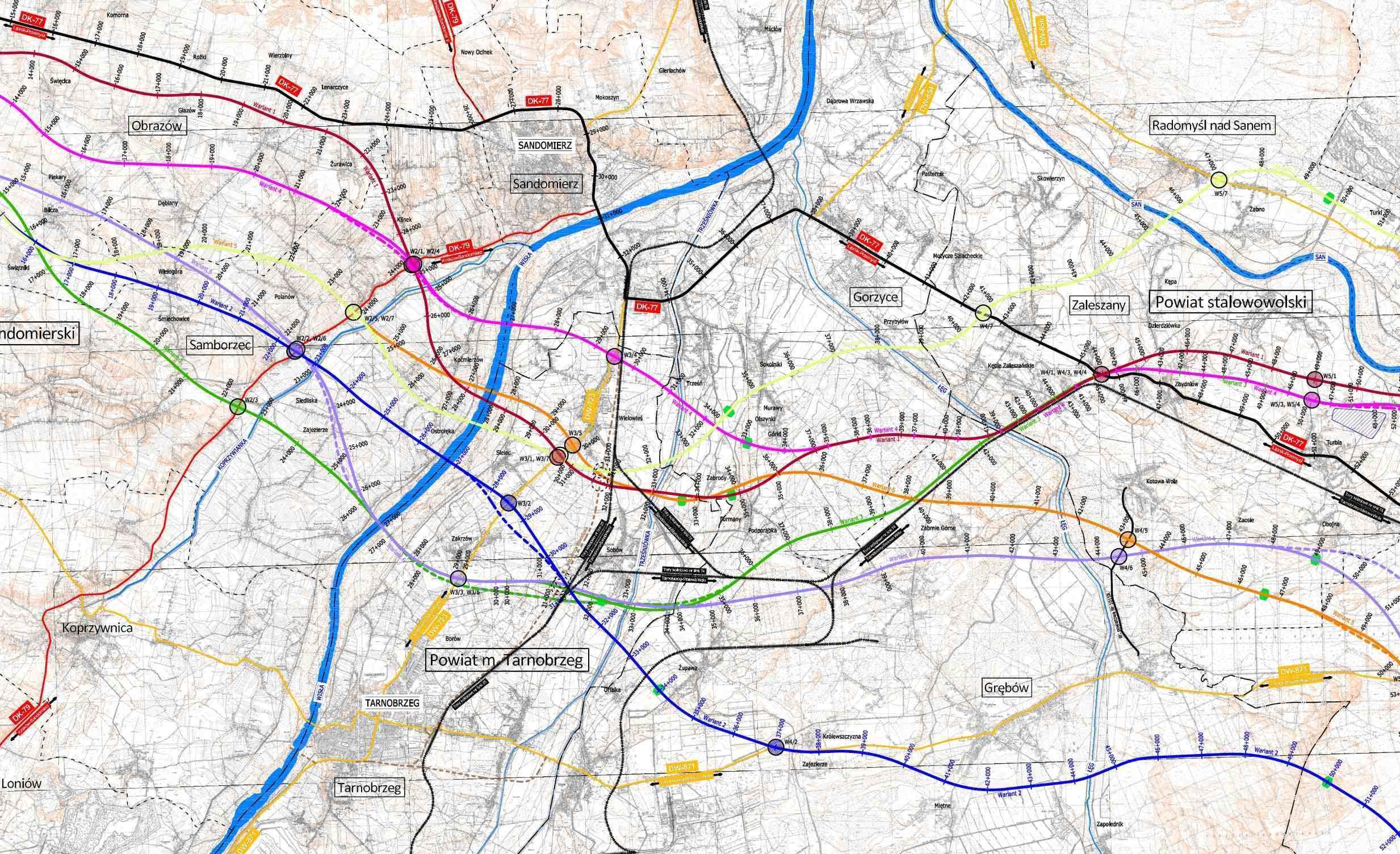 Mapa Drogi Ekspresowej S74 Obwodnica Sandomierza I Tarnobrzegu