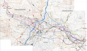 Mapa drogi ekspresowej S74: rózne warianty przebiegu trasy Opatów - Nisko