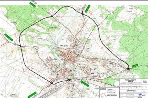 Mapa przebiegu obwodnicy Staszowa w woj. świętokrzyskim
