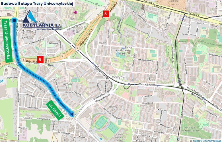 Trasa Uniwersytecka w Bydgoszczy - mapa II etapu