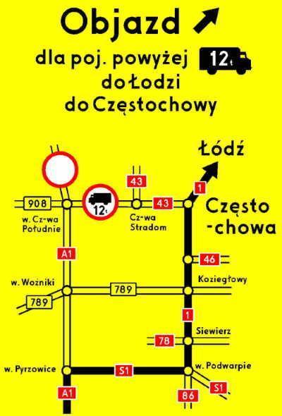 Otwarcie autostrady A1 - objazdy dla poj. pow. 12 t