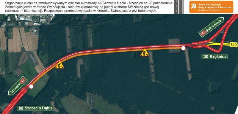 Nowa organizacja ruchu na autostradzie A6 - obwodnicy Szczecina