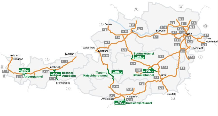 Mapa płatnych dróg w Austrii