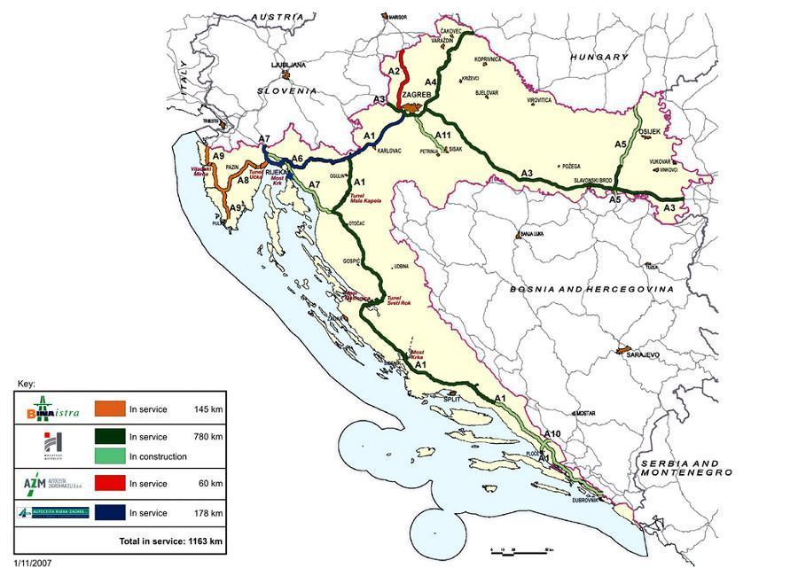 Mapa autostrad i dróg szybkiego ruchu w Chorwacji - w użytkowaniu, w budowie, w planach