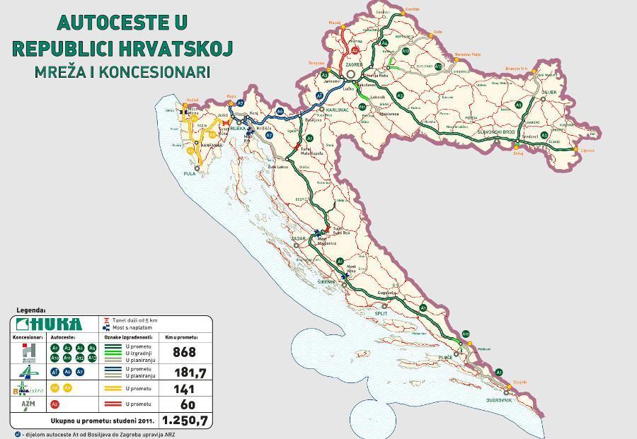 Sieć autostrad i dróg szybkiego ruchu w Chorwacji. Źródło: MPPI  Republika Hrvatska