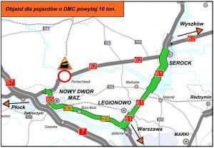 Mazowieckie: Zamknięta DK62 w Pomiechówku