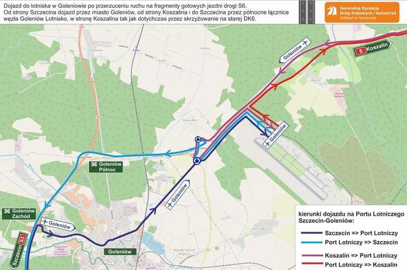 Dojazd do lotniska Szczecin-Goleniów w związku z budowa drogi S6