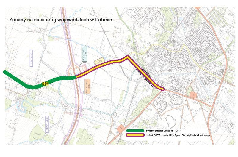 Przebieg DW335 w Lubinie od 2017 r.