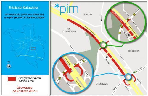 Poznań: Zmieniła się organizacja ruchu w rejonie Estakady Katowickiej