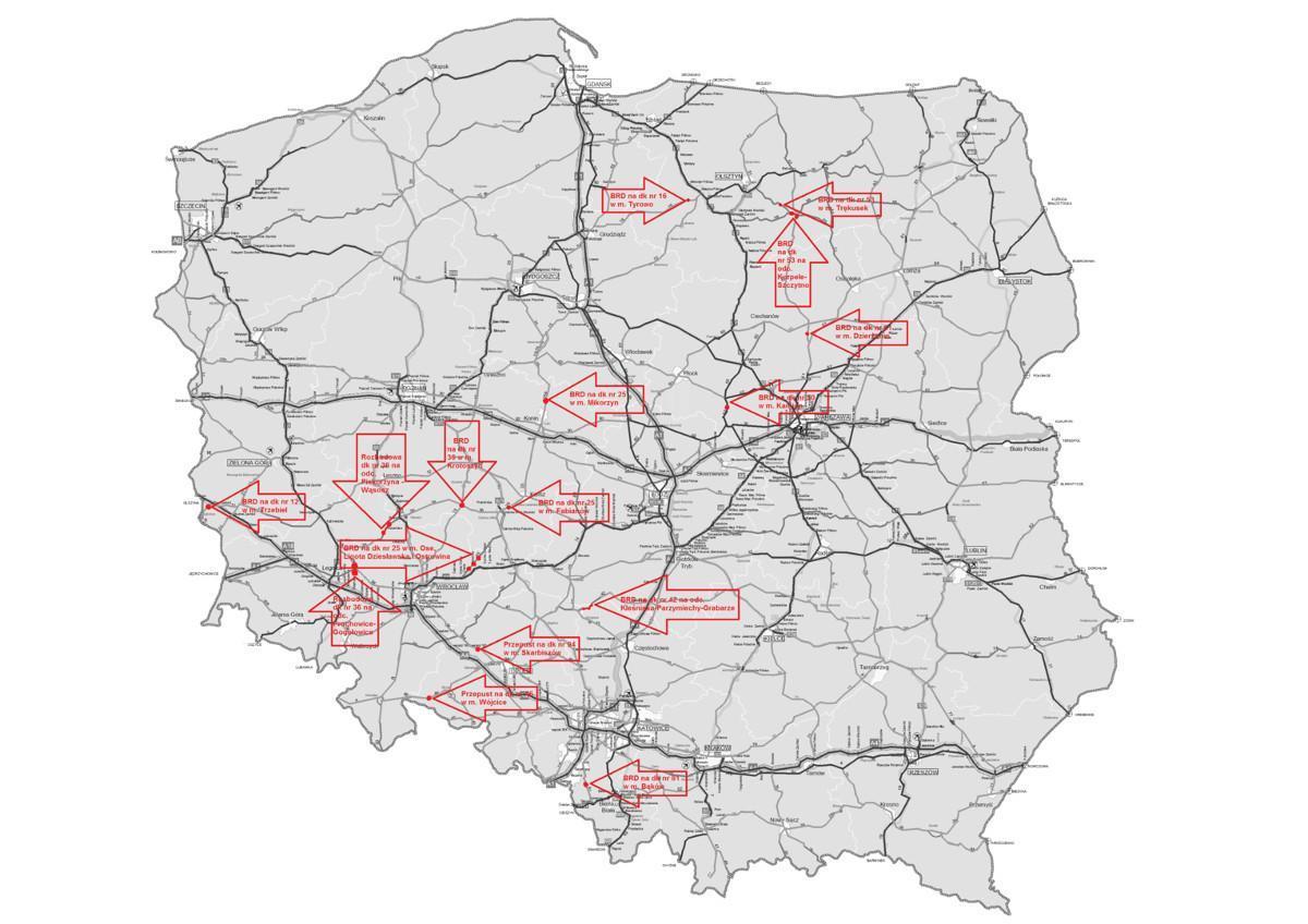 Mapa inwestycji na drogach krajowych