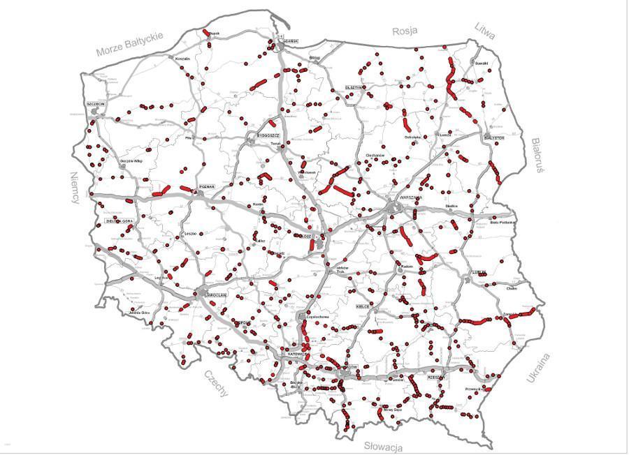 Mapa z lokalizacją inwestycji na drogach krajowych