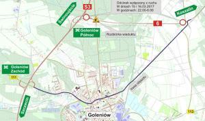 Budowa S6: Ruch na DK6 idzie przez Goleniów