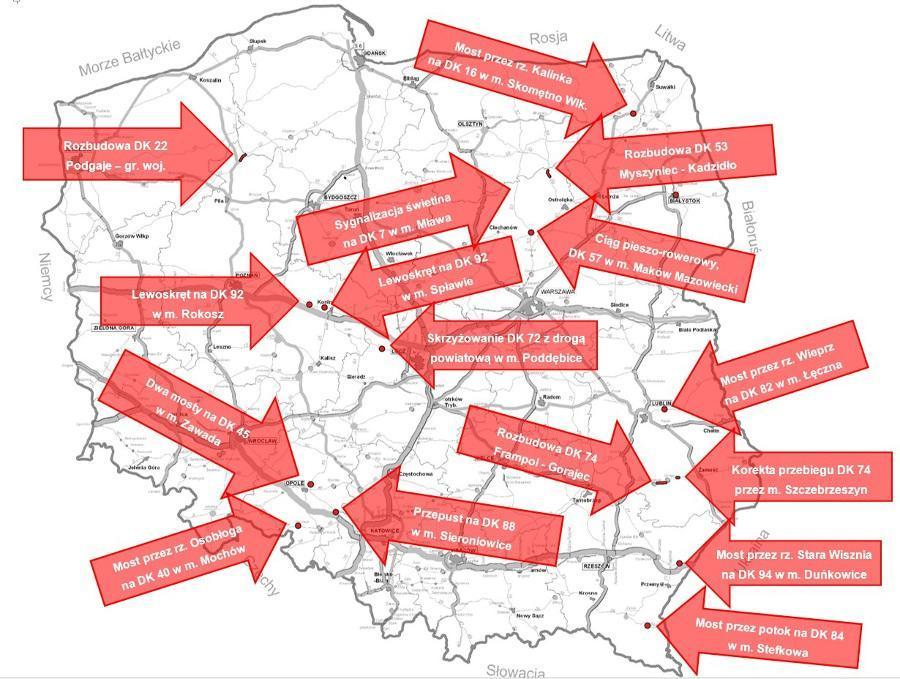 Mapa inwestycji drogowych