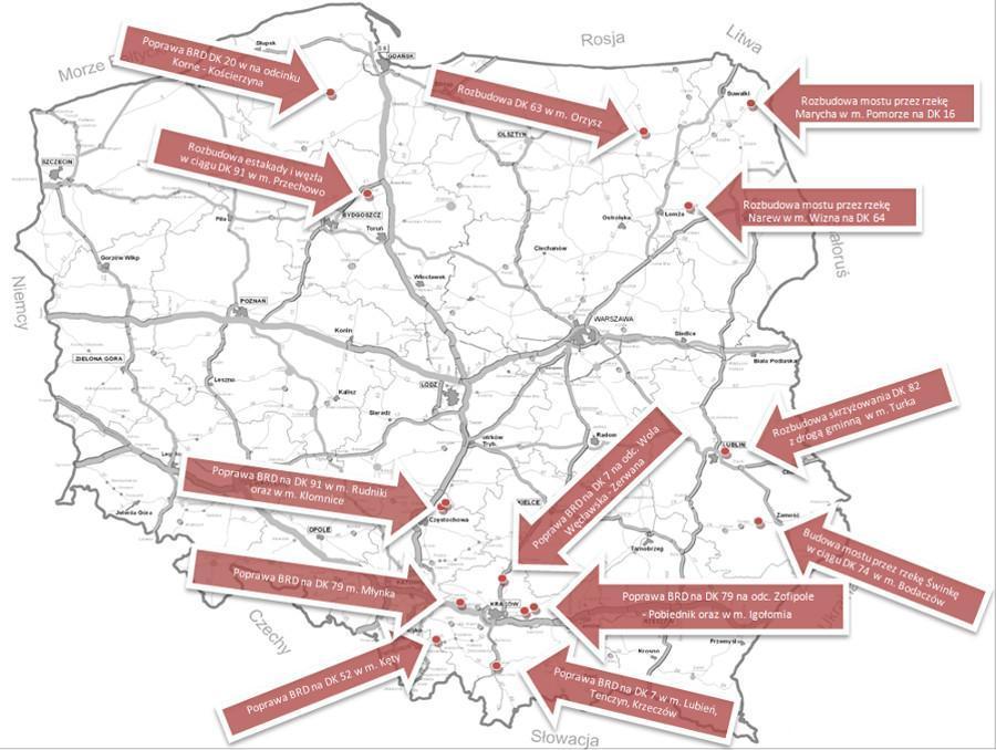 Mapa z lokalizacją inwestycji drogowych związanych z poprawą bezpieczeństwa