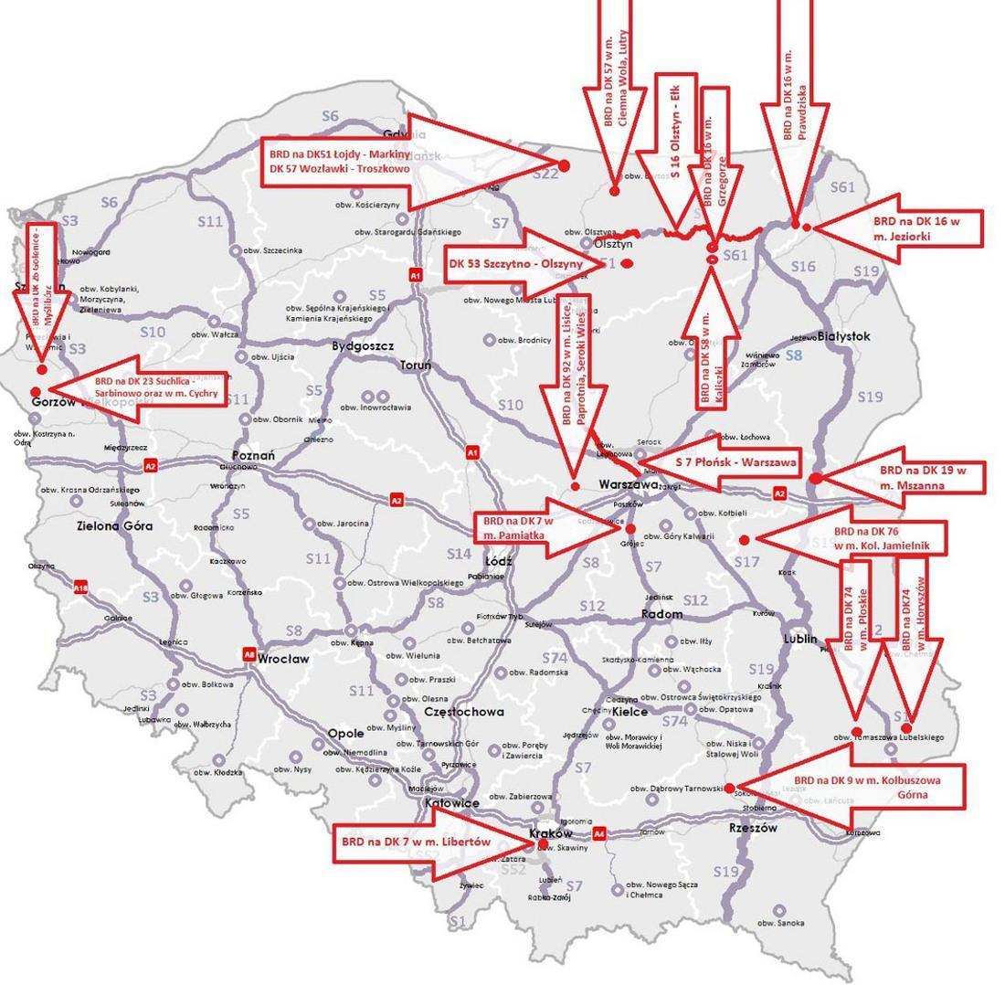 Kolejne inwestycje - w tym budowa S7 Płońsk - Warszawa i S16 Olsztyn (S51) – Ełk (S61)