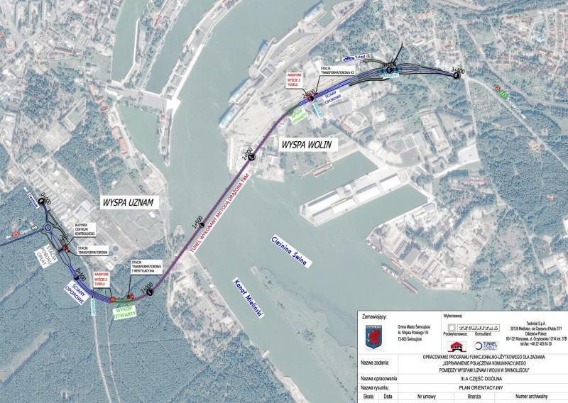Mapa przebiegu tunelu drogowego w Świnoujściu
