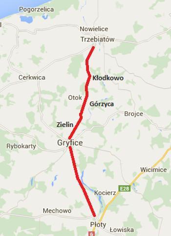 Mapa przebiegu przewidzianego do przebudowy odcinka DW109