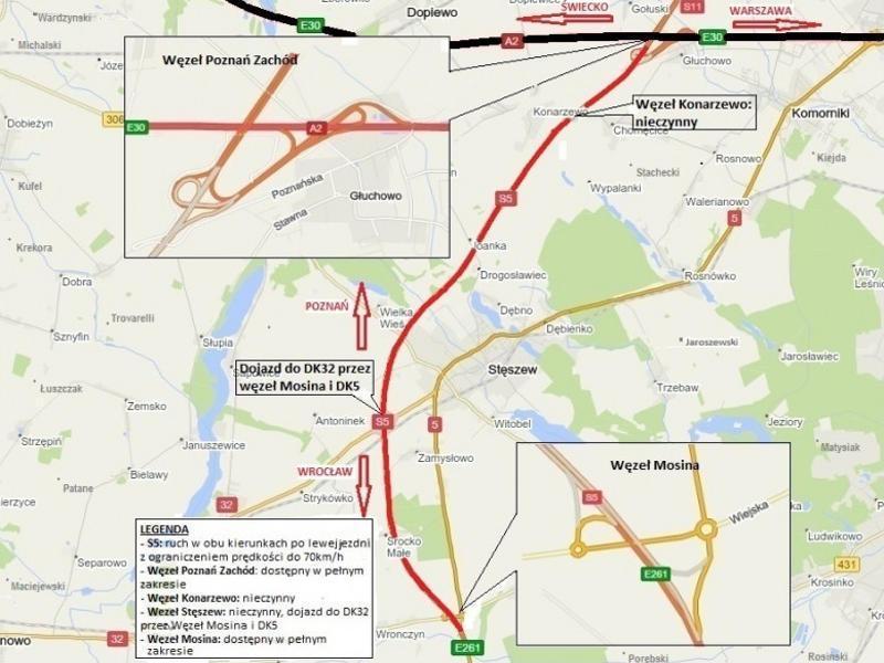 Ograniczenia w ruchu na drodze ekspresowej S5 Poznań - Wronczyn. Oddana jest jedna jezdnia