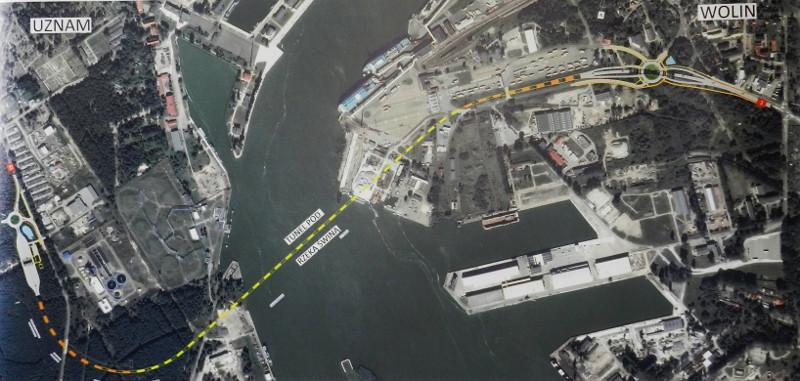 Przebieg tunelu drogowego w Świnoujściu - mapa poglądowa