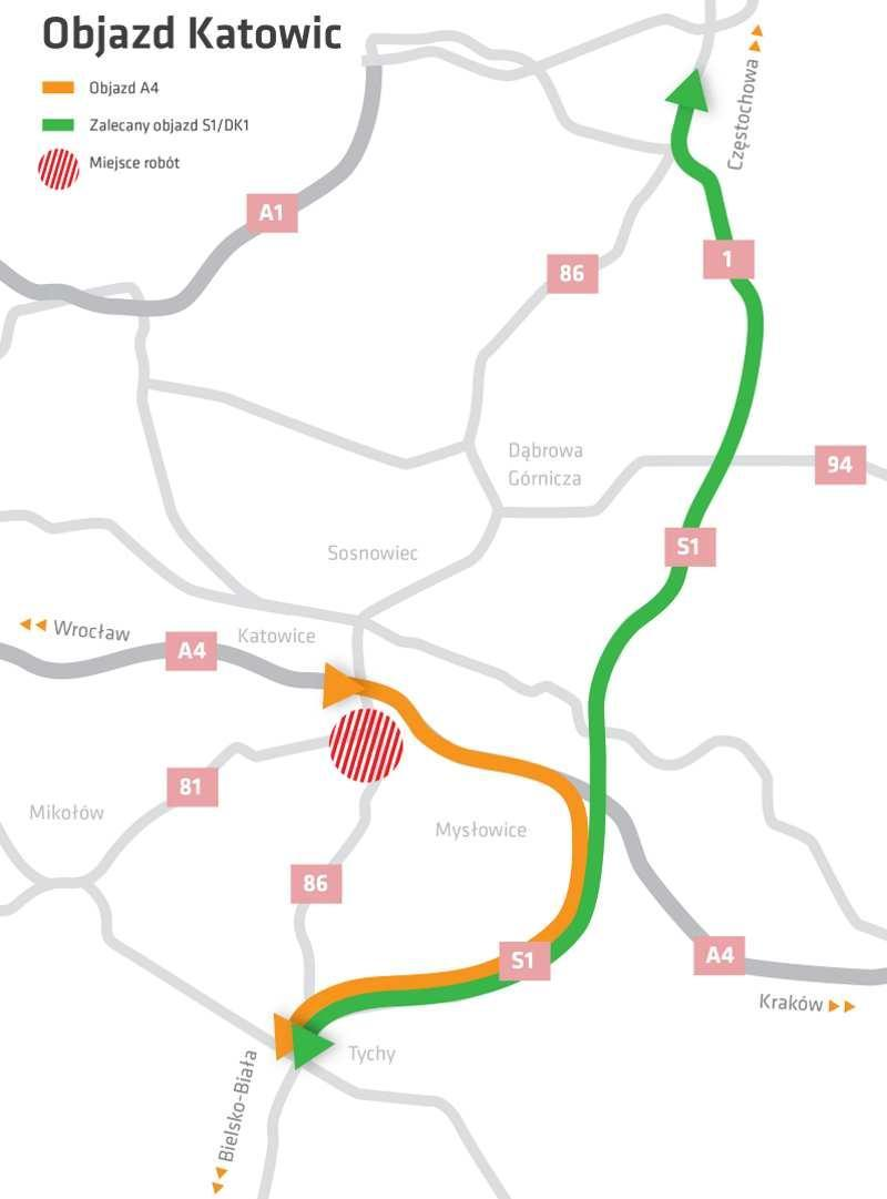 Przebudowa DK81 w Katowicach - mapa objazdów dla tranzytu