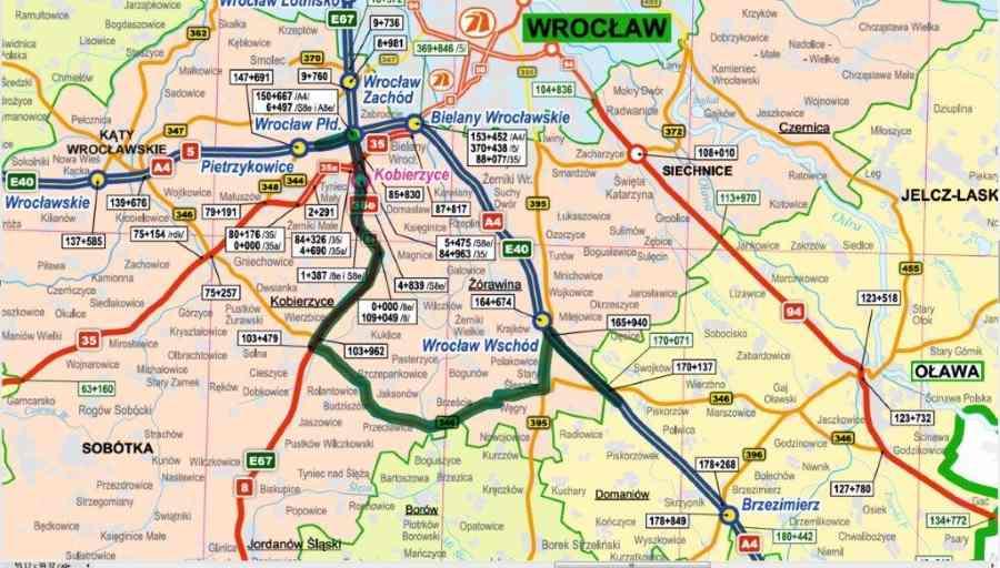 Mapa z objazdem autostrady A4 w okolicach Wrocławia