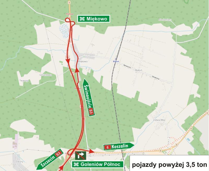 Objazd na węźle Goleniów w związku z budową drogi S6