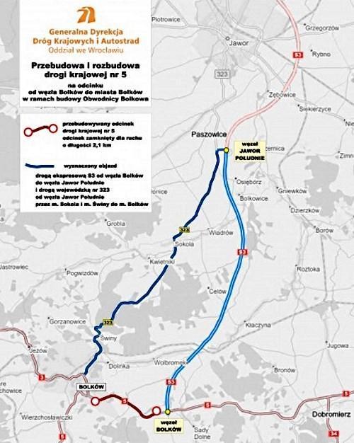 Mapa objazdu DK5 zamkniętej w związku z budową obwodnicy Bolkowa