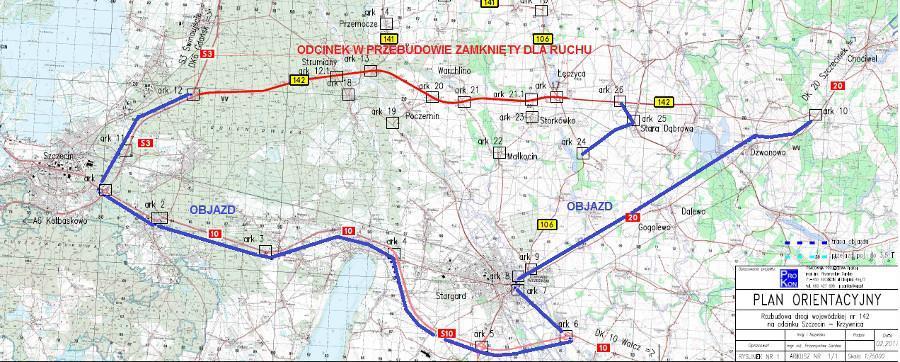 Objazd berlinki DW142 w woj. zachodniopomorskim