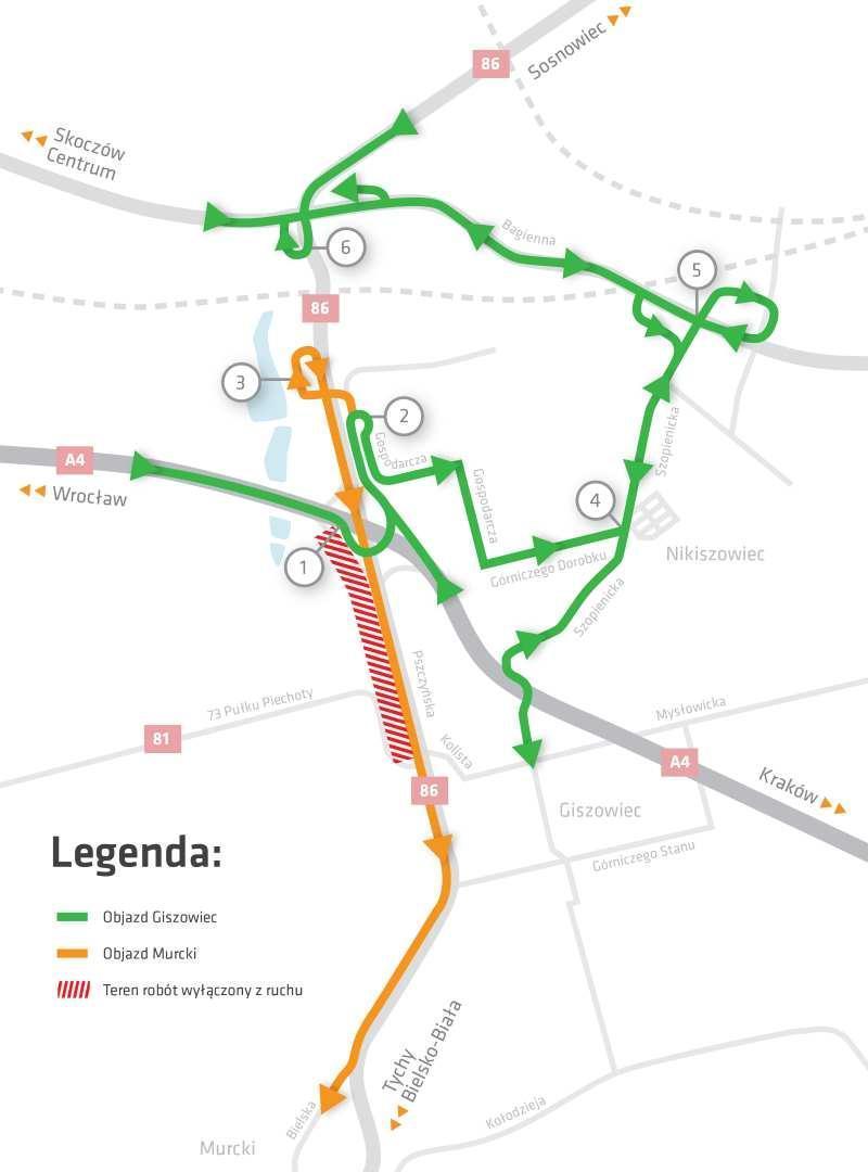 Objazdy w Katowicach w związku z przebudową DK81