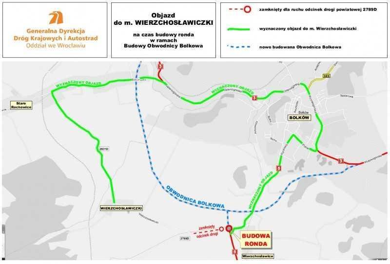 Objazd w związku z budową obwodnicy Bolkowa w ciągu DK3 i DK5