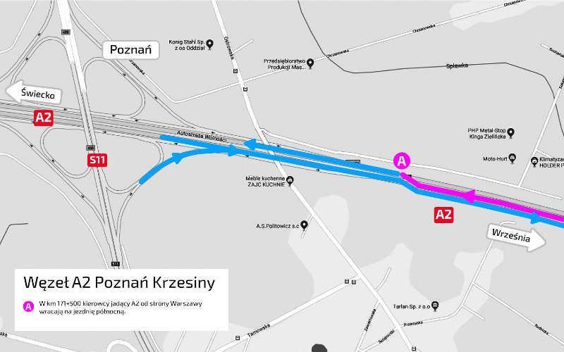 Węzeł Poznań Wschód - organizacja ruchu w związku z remontem. Zdjęcia: AWSA
