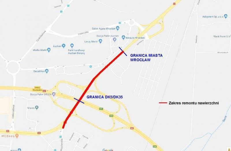 Zamknięte drogi krajowe nr 5 i 35 pod Wrocławiem
