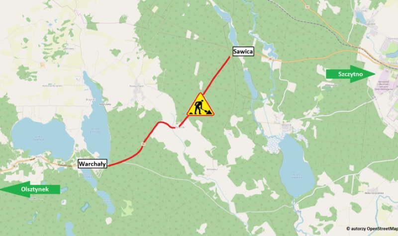 Remontowany odcinek DK58 na trasie Olsztynek - Szczytno