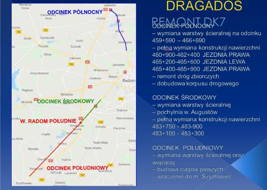 Remont drogi krajowej DK7 koło Radomia i Szydłowca