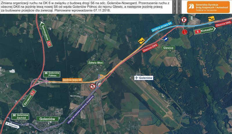 Nowa organizacja ruchu na drodze ekspresowej S6 w okolicach Goleniowa